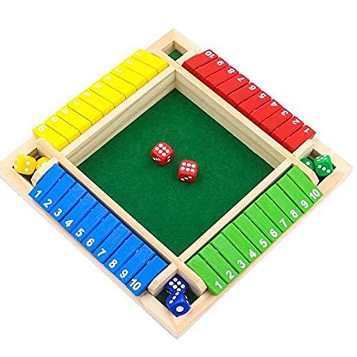 FUIKEING Juego de Mesa de Lujo de Cuatro Caras con 10 NúMeros Shut The Box Dados Fiesta Club Juegos de Beber para Adultos Familias