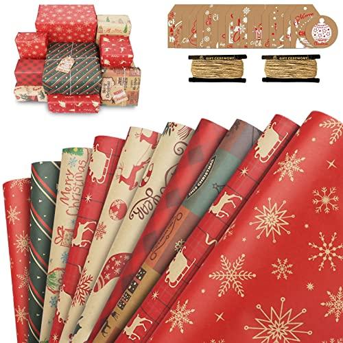 Papel Regalo Navidad Kraft 10 Hojas, Papel Envolver Regalos Navidad con 20 Etiquetas Regalo e 2 Cuerda de Yute, Papel de Regalo Rojo Bonitos Infantil para Navidad, 50 x 70cm