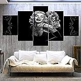 Yuanjun Cuadros Modulares De Las Ilustraciones De La Pared De La Pintura De La Lona Para La Sala De Estar 5 Panel/Set Impreso En La Pared 150X80Cm Marilyn Monroe Sonrisa Terror
