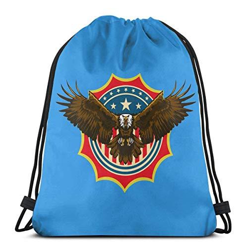 American Bald Eagle - Mochila de gimnasio con cordón, poliéster, para hombres y mujeres, 36 x 43 cm