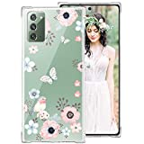 iDLike Galaxy Note 20 Case for Women Girls, Clear Floral Flower Cute Design Hard Plastic Back + Soft TPU Bumper Protective Shockproof Phone Case Cover for Galaxy Note 20 6.7',Pink-Poppy/Bird