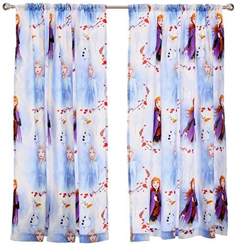 Frozen 2 Offizielles Disney Anna & ELSA Design Vorhänge | Perfekt für jedes Kinderzimmer (182,9 cm), Weiß