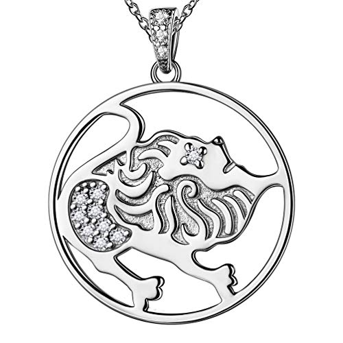 Zoidac Sign Leo Necklace for Men Women Unisex Constellation Jewellery 925 Sterling Silver Synthetic Diamond Horoscope Astrology Necklace for Party FP0092Z