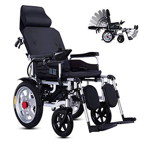 DSHUJC Elektrische Rollstühle, Elektrorollstuhl mit Verstellbarer Rückenlehne, tragbarer Klappmobilitäts-Elektrorollstuhl, verstellbare Polymer-Li-Ionen-Kopfstützenbatterie