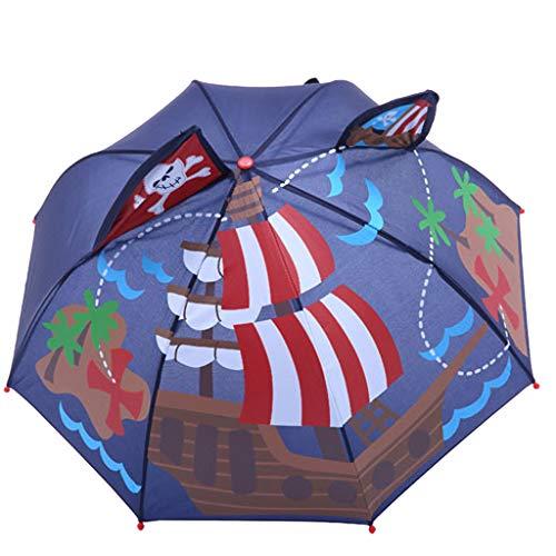 FeiliandaJJ Kinder Regenschirm Junge Mädchen Stockschirm Cartoon 3D Tier Anti UV Windsicher Sturmfest Automatik Kinderregenschirm,Länge 60cm (Segeln(A))