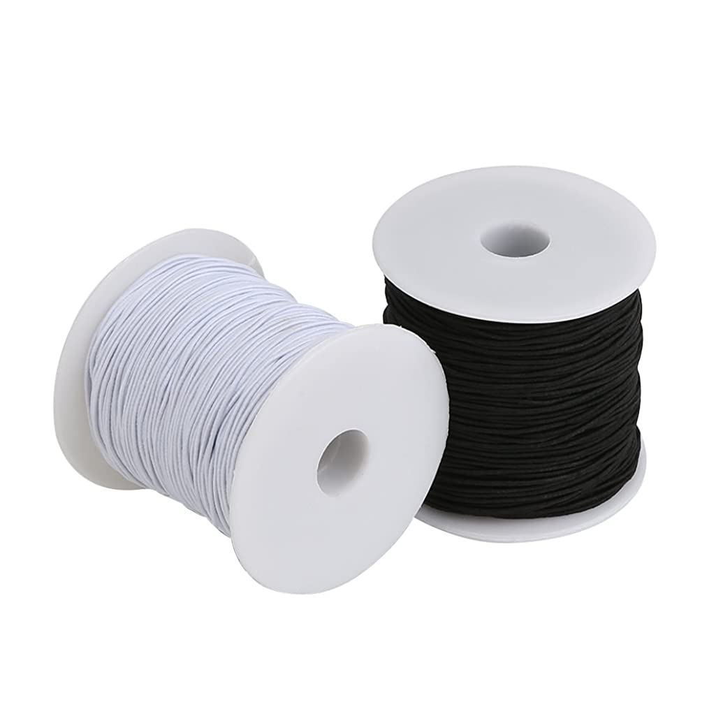Tenn Well Elastic Cord Thread, 328 Feet x 2 Rolls 1mm Stretchy Bead Thread for Bracelets, Jewelry Making and Craft (Black, White)