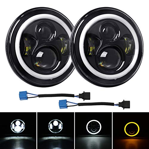 LED Headlight 7 Inch Round, CREE LED Chip, 80W 9600 Lumen High/Low Beam with Angel Eyes DRL Halo Ring Compatible with Wrangler JK TJ LJ 1997-2018 -  FIRSTGO-TECH, FR-QPLM010002W