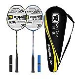 Whizz Kratzfestes Design Carbon Badminton Set Schläger Racket Ultraleicht Graphit 2 STK mit Schlägertasche & 2 Griffbänder (S8 Schwarz+Blau)
