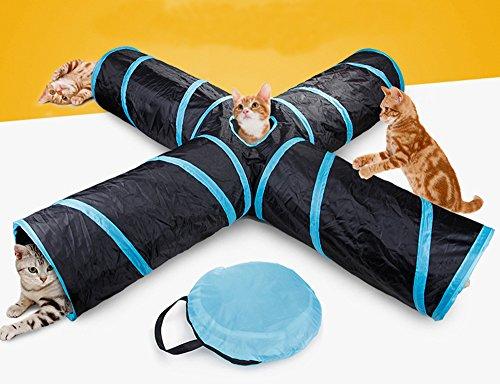 Beststar - Tunnel per gatti a 4 vie, per interni ed esterni, pieghevole, con borsa portaoggetti per gatti, cani, cuccioli, gattini, conigli,