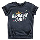 Birthday Girl Shirt Crown 1st First 2nd Two 3rd 4th 5th Toddler Birthday Outfit (Charcoal Black, 3T)