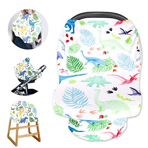Dinosaur Baby Car Seat Cover for Boys and Girls, Multiuse Carseat Canopy for Newborn, Mom Nursing Breastfeeding Covers, White Shopping Cart/High Chair/Stroller Covers,Infinity Scarf,Car Seat Canopies