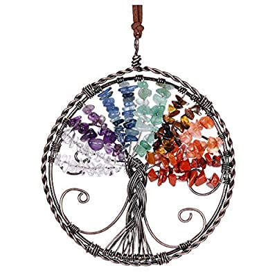 Top Plaza Tree of Life 7 Chakra Gemstones Reiki Healing Crystal Hanging Ornament Home Indoor Decoration Wall Decor for Good Luck, Yoga Meditation, Protection