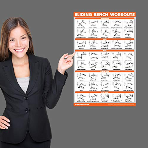 QuickFit Sliding Bench Workout Poster - Compatible with Total Gym, Weider Ultimate Body Works - Incline Bench Exercise Chart (Laminated, 18