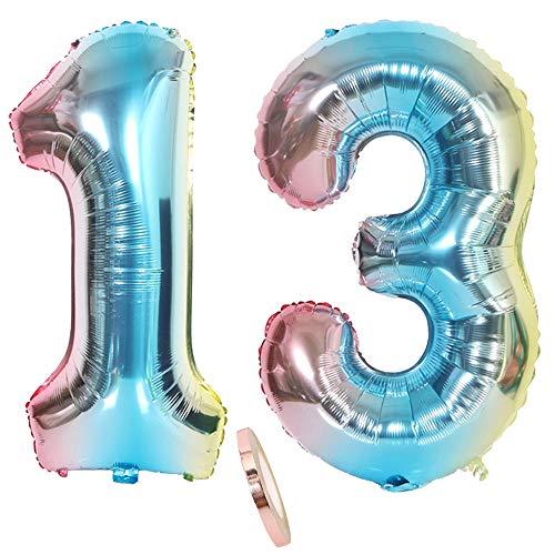2 Luftballons Zahl 13, Nummer Luftballon Regenbogen Mädchen jungen,32