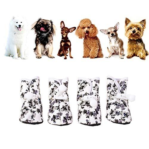 VICTORIE Scarpe per Cani Impermeabile Stivali Antiscivolo per Cani Gatto Animale 4 Pezzi Nero M