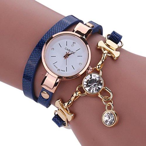 Fashion Damen Charm Armband Multilayer Lederarmband mingfa. Y Strass Quarz Handgelenk Uhren Armreif, dunkelblau, Watch case Size: 2.5x2.5cm/0.99