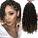 5 Packs Pre-twisted Spring Twist Crochet Hair Ombre Colors Short Curly Braids Pretwisted Passion Twists Bomb Twist Bob Pre-looped Synthetic Hair Extensions (10inch,T27#)