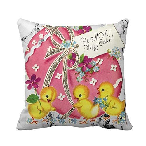 Dasongff Ostern Deko Kissenbezug 45 x 45 cm Ostern Hase Eier Dekorative Quadrat Wurf Kissenbezüge Set Kissenhülle für Sofa Schlafzimmer Auto Pillowcase