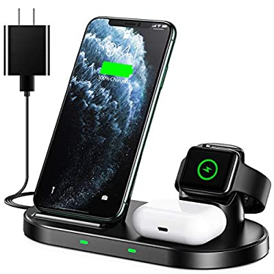 WAITIEE Wireless Charger 3 in 1 Stand for Apple iWatch Series 5/4/3/2/1 AirPods pro, QI Phone Charger 15W Fast Charging Dock Compatible iPhone 11/11 Pro/11 Pro Max/XS/XR/X/8/8 Plus/Samsung/Google/LG from WAITIEE