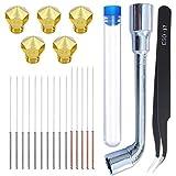 HAWKUNG 22 Pieza Kit Limpieza Boquilla Impresora 3D, 5 0.4 mm Latón Boquilla + 15 Aguja de Limpieza (0.35 mm x 10 + 0.4 mm x 5) + 1 Pinzas + 1 Llave para MK10 Impresora 3D
