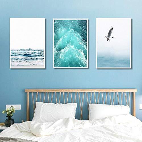 Błękitne morze i niebo nordycki krajobraz obraz na płótnie darmowa mewa fale plaża sztuka plakat salon dekoracja morskie ściana 50 x 70 cm x 3 nieoprawione