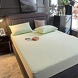 RKRXDH Cubrecolchón Impermeable colchón Cubierta de Tela de Toalla Protector colchón Cama Doble Hoja montada sobre elástico Cama Cubierta Anti ácaros (Color : Green, Size : Full(54x75x13cm))