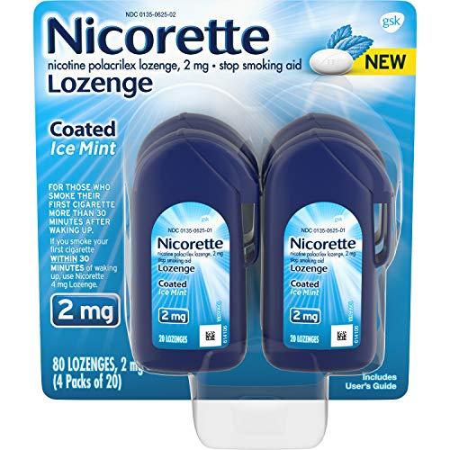 Nicorette 2mg Coated Nicotine Lozenge Stop Smoking Aid, Ice Mint, 80 Ct, 80count