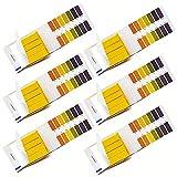 6 Paquetes Tiras Reactives de pH, Tiras de Papel de Tornasol, 1-14 Ph Tiras De Papel para Agua, Saliva, Orina