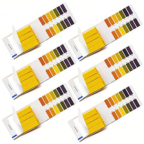 6 Paquets Papier Bandes de pH, Bandelettes de Test de pH, Papier Test pH pour Eau Salive Urine Sol
