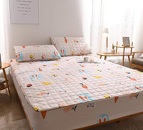 XLMHZP Sábanas Acolchadas de algodón de Lujo, sábanas Queen-fit Impresas, Protector de colchón King Antideslizante para niños y niñas-F_150x200cm + 30cm