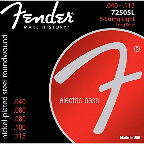 Fender 073-7250-453 Corde per basso a 5 corde Super Bass 7250-5L in acciaio nichelato a lunga distanza