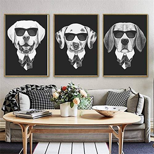 Serie de Perros con Gafas de Sol Animal Fresco nórdico decoración del hogar Lienzo Pared Arte Cartel,Pintura sin Marco,40X60cmx3