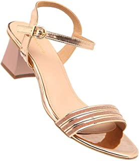 Haute Curry by Shoppers Stop Womens Casual Wear Buckle Closure Heels (Gold_39)