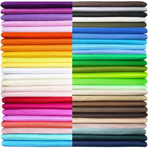 50 Pieces Multi-Colors Cotton Fabric Quilting Squares Bundles 100% Pure Cotton Precut Twill Solid Assorted Fabrics for Craft Patchwork DIY Sewing Material, 20cm×20cm