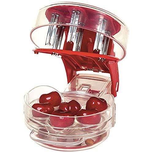 Taloit Kirschentkerner, Entkerner, handlicher Olivenbeeren-Entferner mit Pits und Saftbehälter, Küchenwerkzeug für bis zu 6 Kirschen