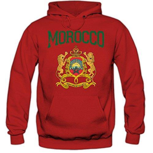 Shirt Happenz Marokko Wappen Premiumhoodie | Marokko | Königreich Marokko | Rabat | Arabisch | Herren-Kapuzenpullover, Farbe:Rot;Größe:XS