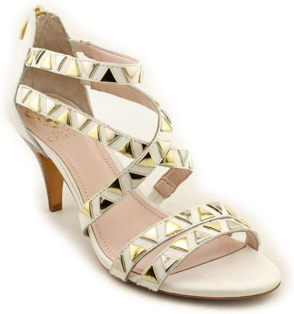 Vince Camuto Mikal - Gold Studded White Leather Heeled Sandal