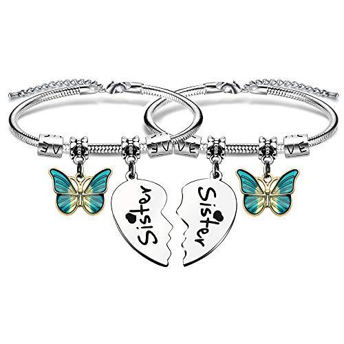 KENYG 2 pulseras de plata con colgante para hermanas, amigos, hermanas, Navidad, cumpleaños, boda, gradaución, joyería de moda para mujer