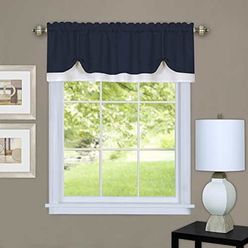 "Achim Home Furnishings DRVL14NW12 Darcy Window Curtain Valance, 58"" x 14"", Navy/White"