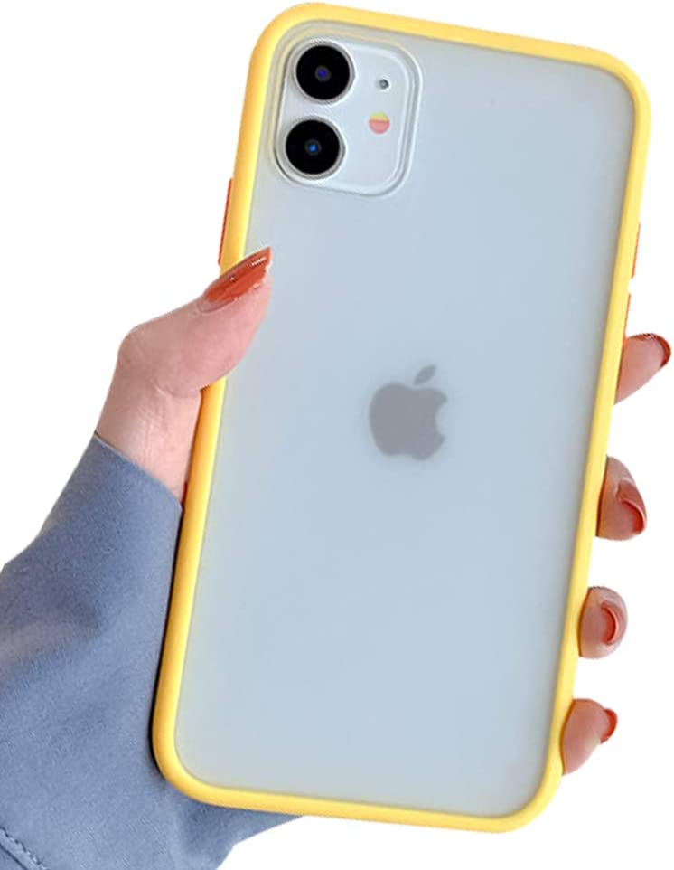 Ownest Compatible with iPhone 11 Case for Clear Frosted PC Back and Soft TPU Bumper Protective Silicone Slim Shockproof Case for iPhone 11(6.1 Inch)-Yellow