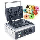 Máquina para hacer donuts, 1500 W, gofrera comercial, 50 ~ 300 ℃, antiadherente, de acero inoxidable, para 5 donuts