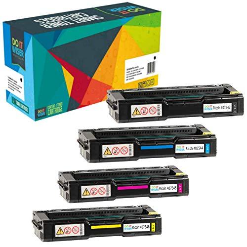 Do it Wiser- Cartuchos de Tóner Compatibles para Usar en Lugar de Ricoh Aficio SP C250sf SP C250dn SP C252sf SP C250 SP C252 SP C252dn 407543 407544 407545 407546 (Pack de 4)