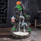 SOLEJAZZ Waterfall Backflow Incense Burner Mountain Incense Holders with 120 Backflow Incense Cones & 30 Incense Stick for Home Office Yoga Aromatcherapy Ornamen