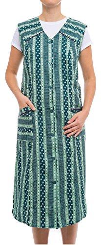 Tobeni Damen Kittelschürze Knopf-Kittel lang in 100% Baumwolle ohne Arm mit Taschen Farbe Design 38 Grösse 46