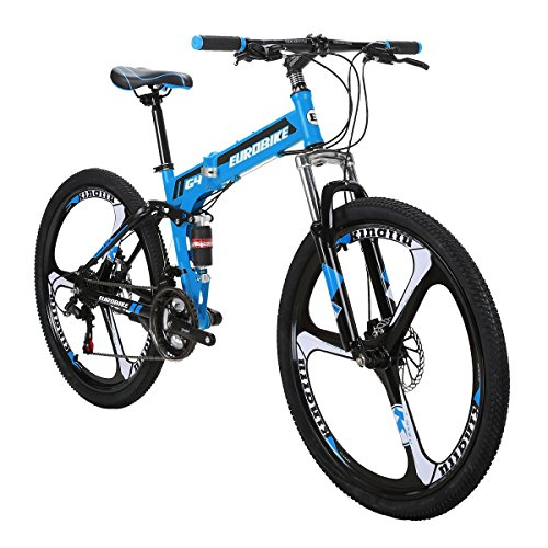 Eurobike Folding Bike G4 21 Speed Mountain Bike 26 Inches 3-Spoke Wheels MTB Dual Suspension Bicycle (Blue)