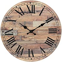 Stonebriar Old Fashioned 14 Inch Round Wood Hanging Wall Clock, Battery Operated, Rustic Wall Decor for the Living Room,...