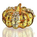 OMG-1,2 pollici metallo oro zucca con cristallo donna Trinket Box anello orecchini scatola di immagazzinaggio scatole gioielli matrimonio signora regalo artigianato