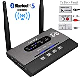 Golvery Long Range Bluetooth 5.0 Transmitter/Receiver/Bypass 3-In-1 Wireless Audio Adapter for TV Home