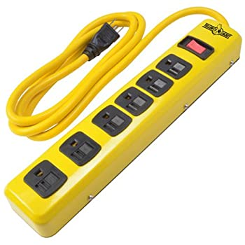 WOODS WIRE SOUTHWIRE Yellow Jacket 5139N 14/3 6-Outlet Heavy Duty Industrial Metal Workshop Strip with 6-Foot Power Cord Sliding Safety Covers and Overload Protection