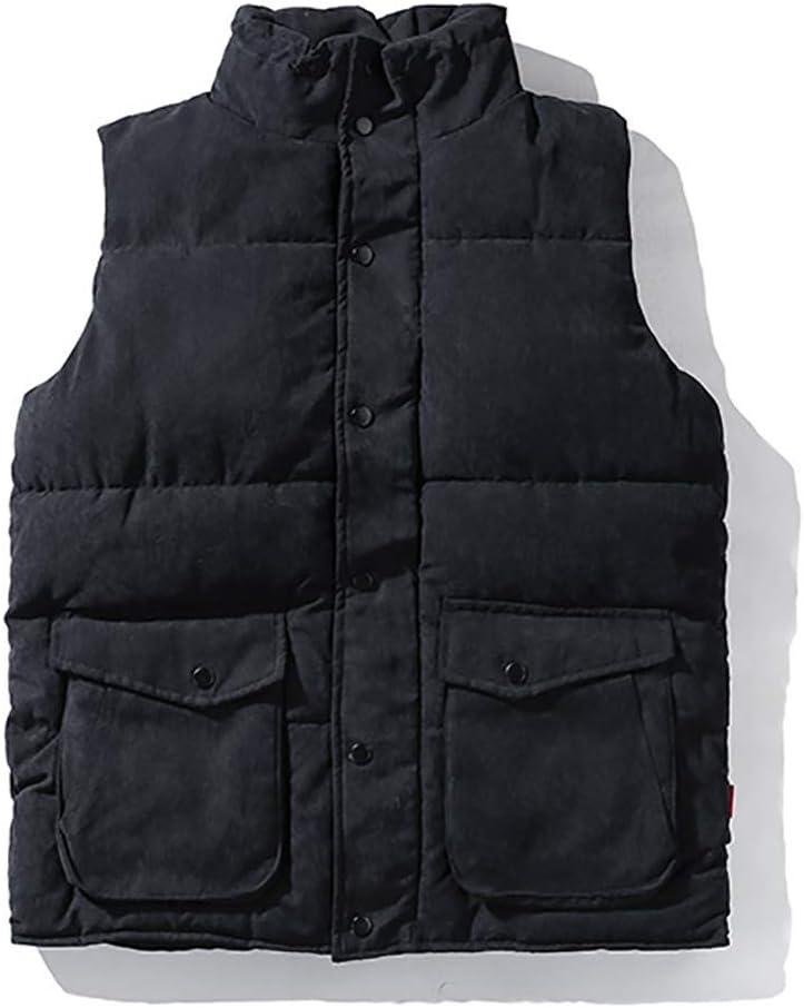 FHK Men's Winter Vintage Stand-up Tooling Cotton Vest Workwear Jacket (Color : B, Size : XXL)